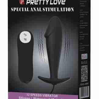 Pretty Love Vibrating Penis Shaped Butt Plug - Black