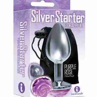 The 9's The Silver Starter Rose Floral Stainless Steel Butt Plug - Purple