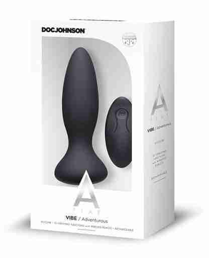A Play Rechargeable Silicone Adventurous Anal Plug w/Remote - Black