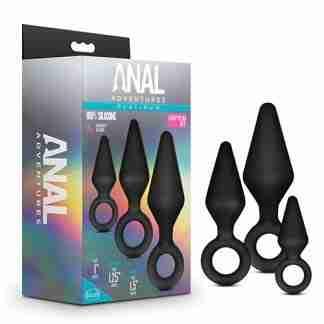 Blush Anal Adventures Platinum Silicone Loop Plug Kit - Black