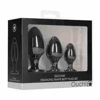 Shots Ouch Diamond Shape Butt Plug Set - Black